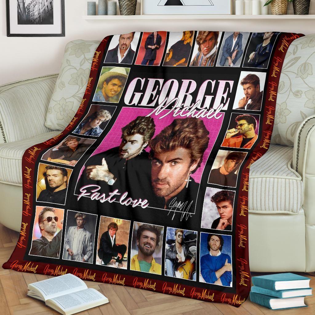George Michael Albums Fast Love Fleece Blanket