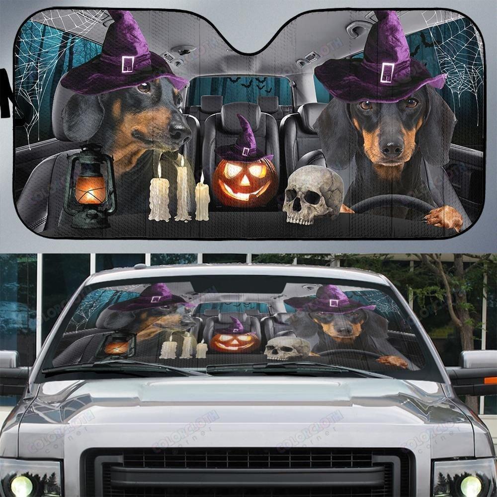 Dachshund Dog Halloween Car Sunshade