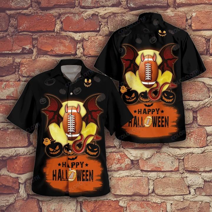 Happy Halloween Football with Bat Wings Hawaiian Shirt