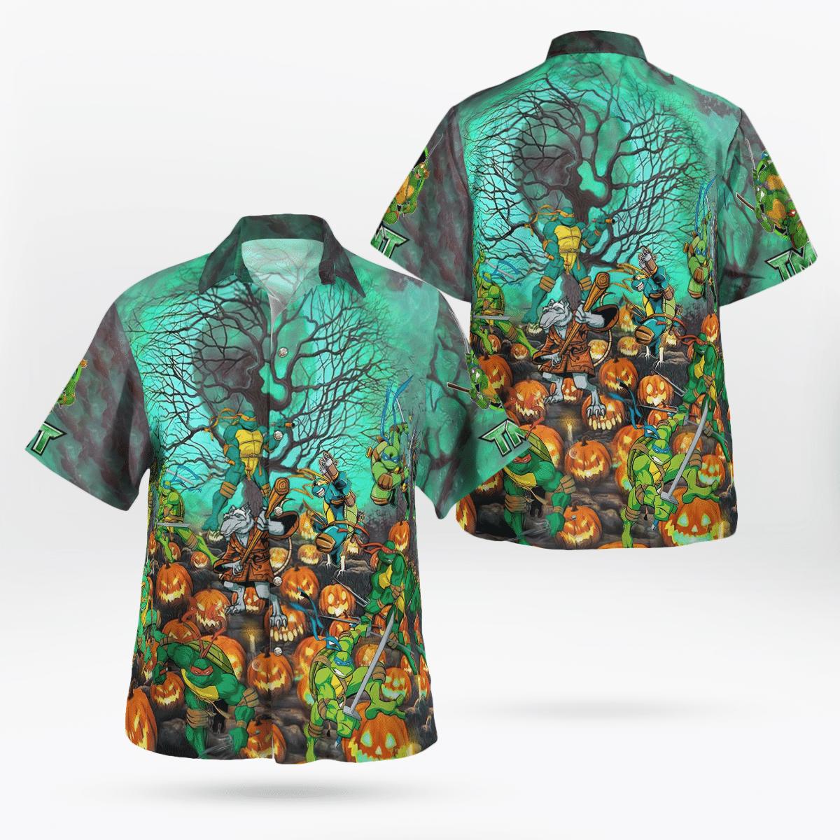 Halloween TMNT Ninja Turtles pumpkin Hawaiian Shirt