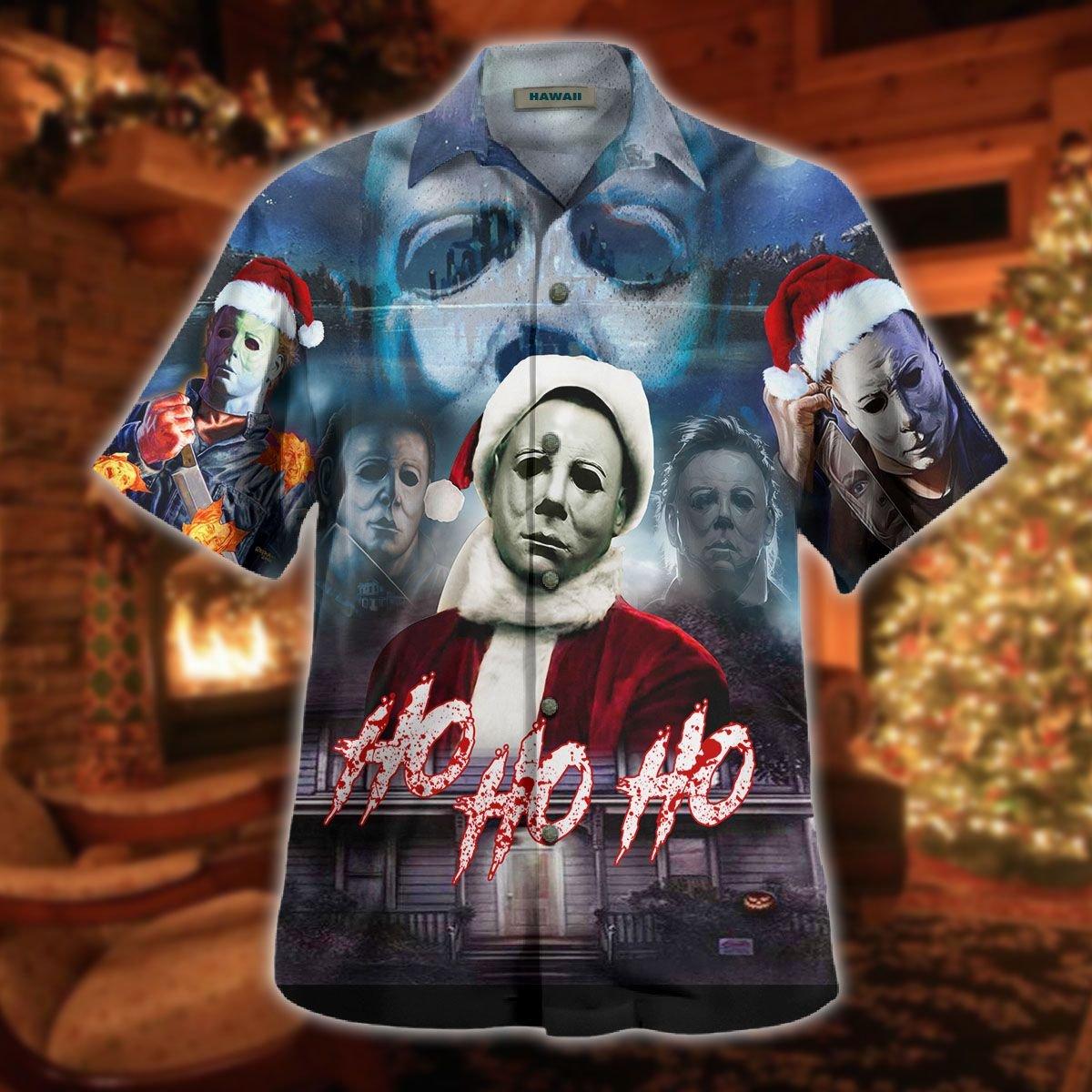 Christmas Ho Ho Ho Michael Myers Face Halloween Hawaiian shirt