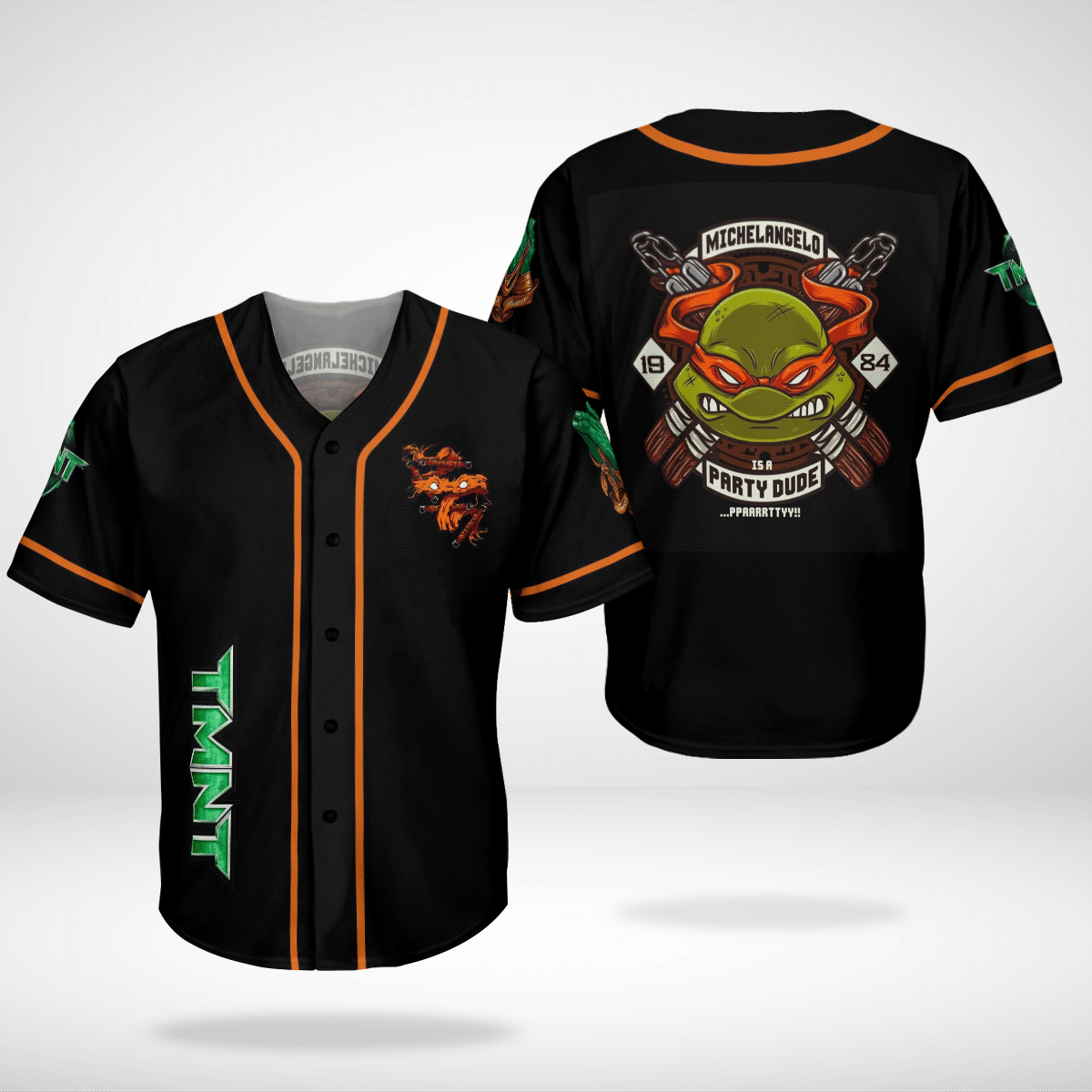 Michelangelo TMNT Ninja Turtles baseball Jersey shirt