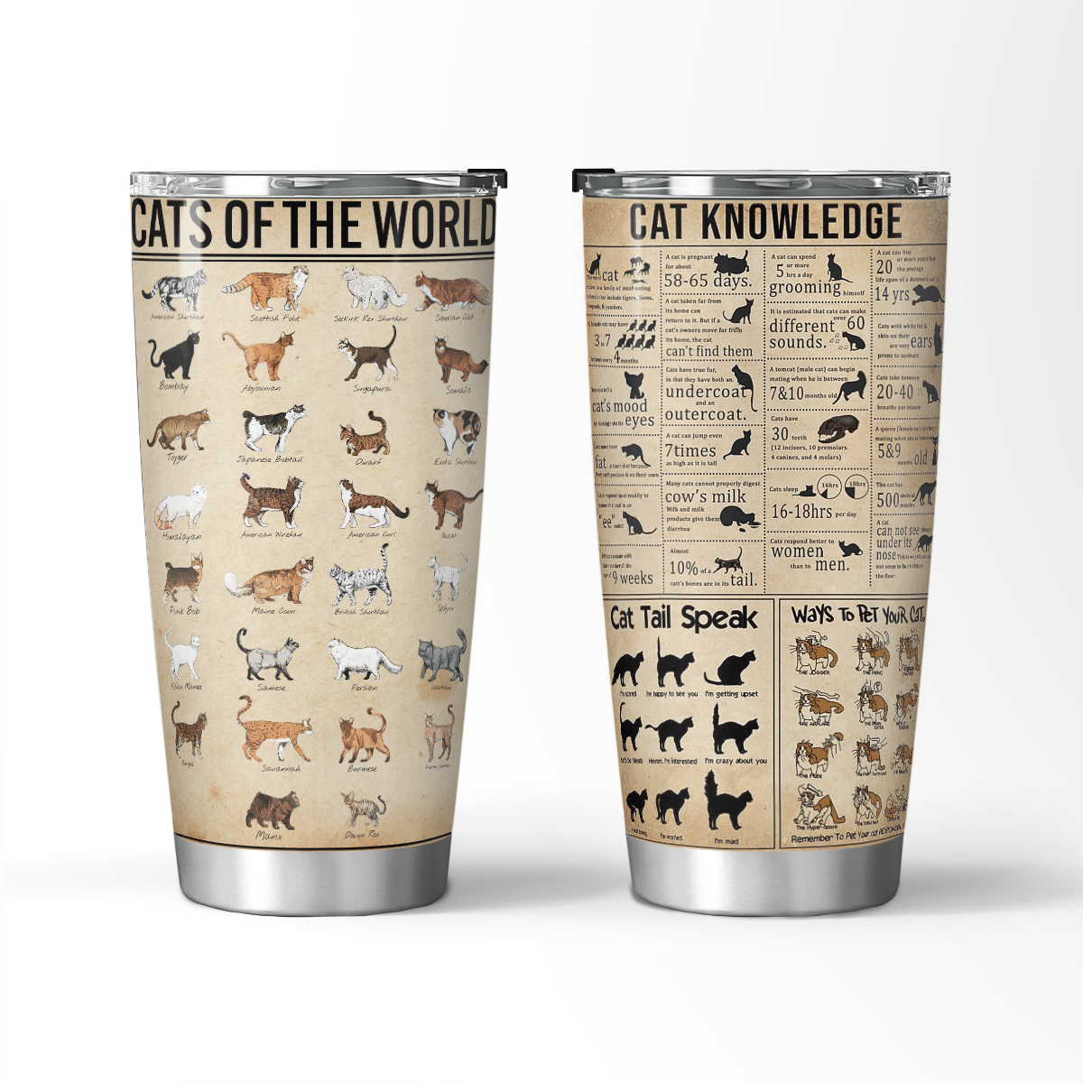 Cats of the world knowledge farmer love tumbler cup