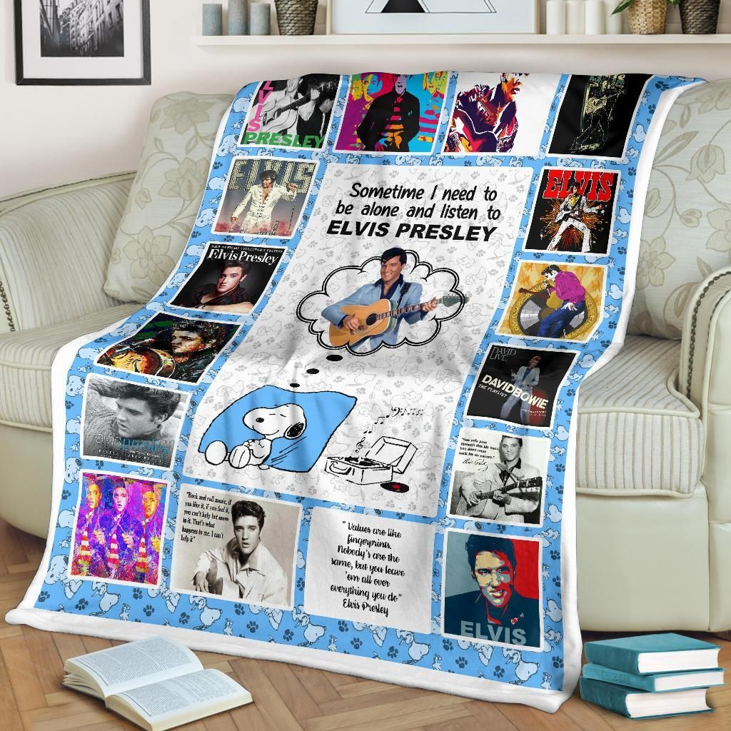 Snoopy Sometime I Need To Be Alone And Listen To Elvis Presley Fleece Blanket