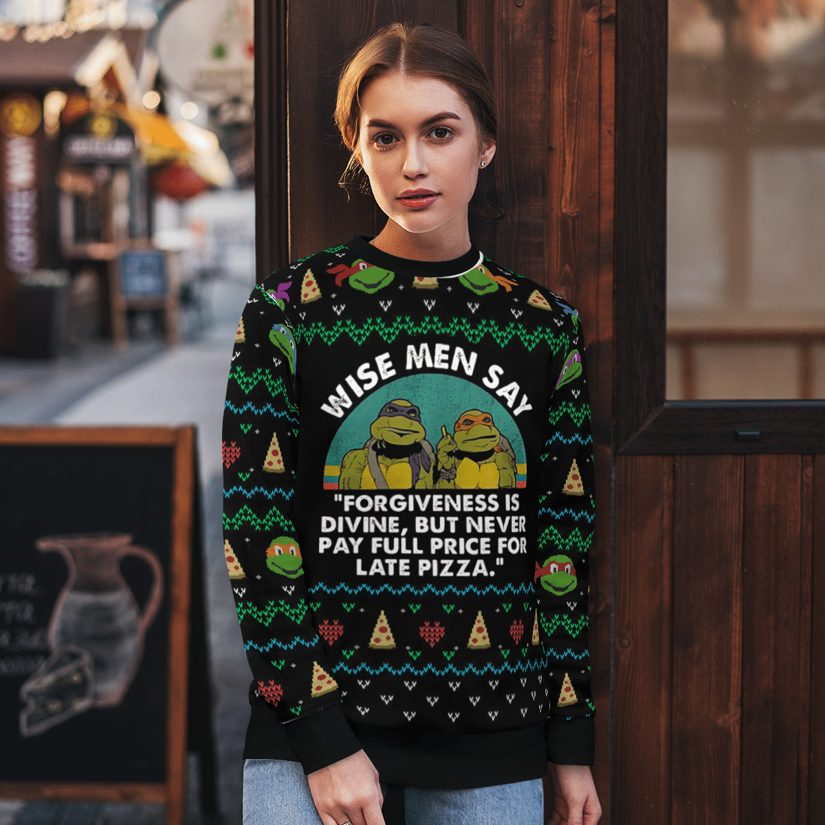 TMNT Wise Men Forgiveness is divine don't pay for late pizza Sweater