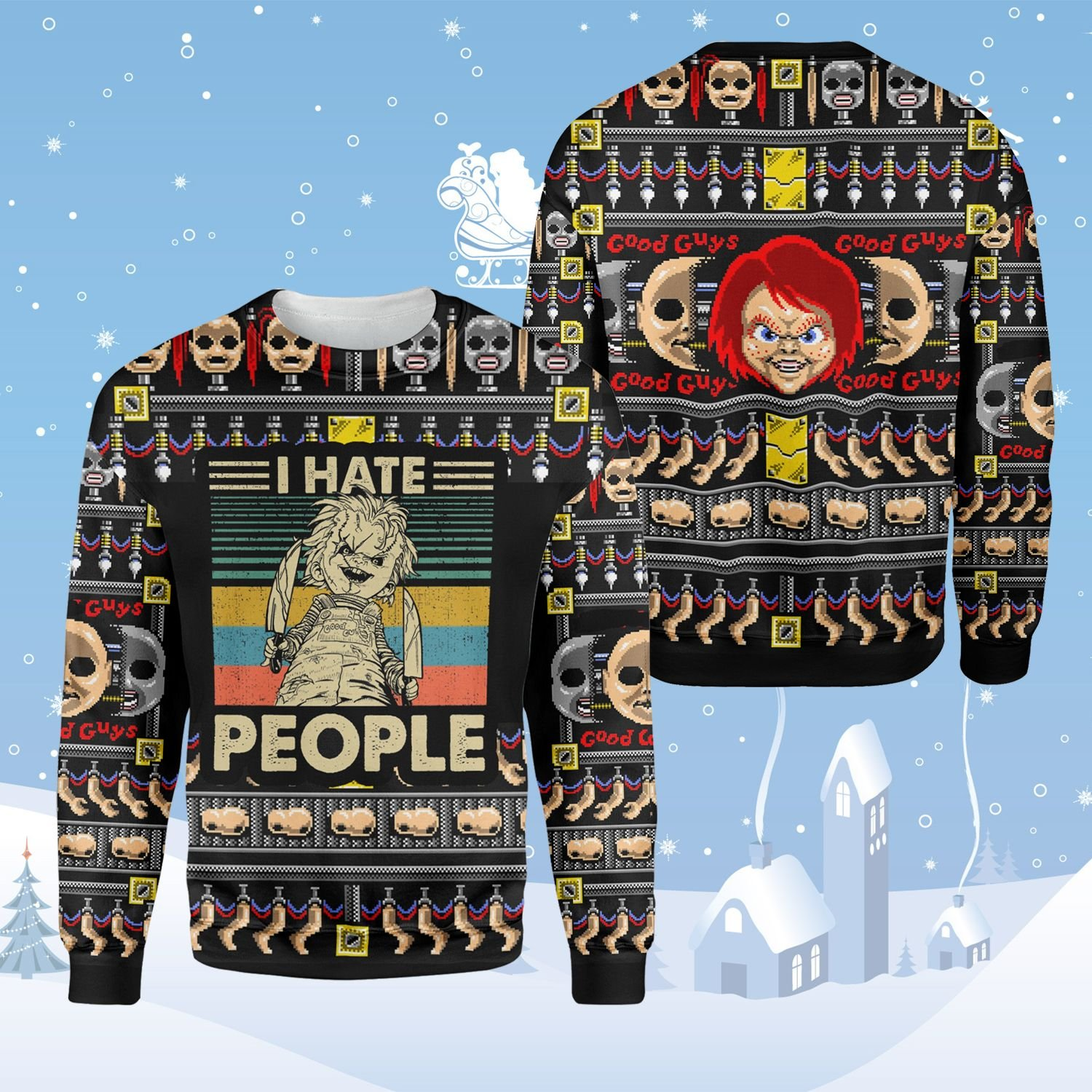 Horror Doll Ugly Sweater