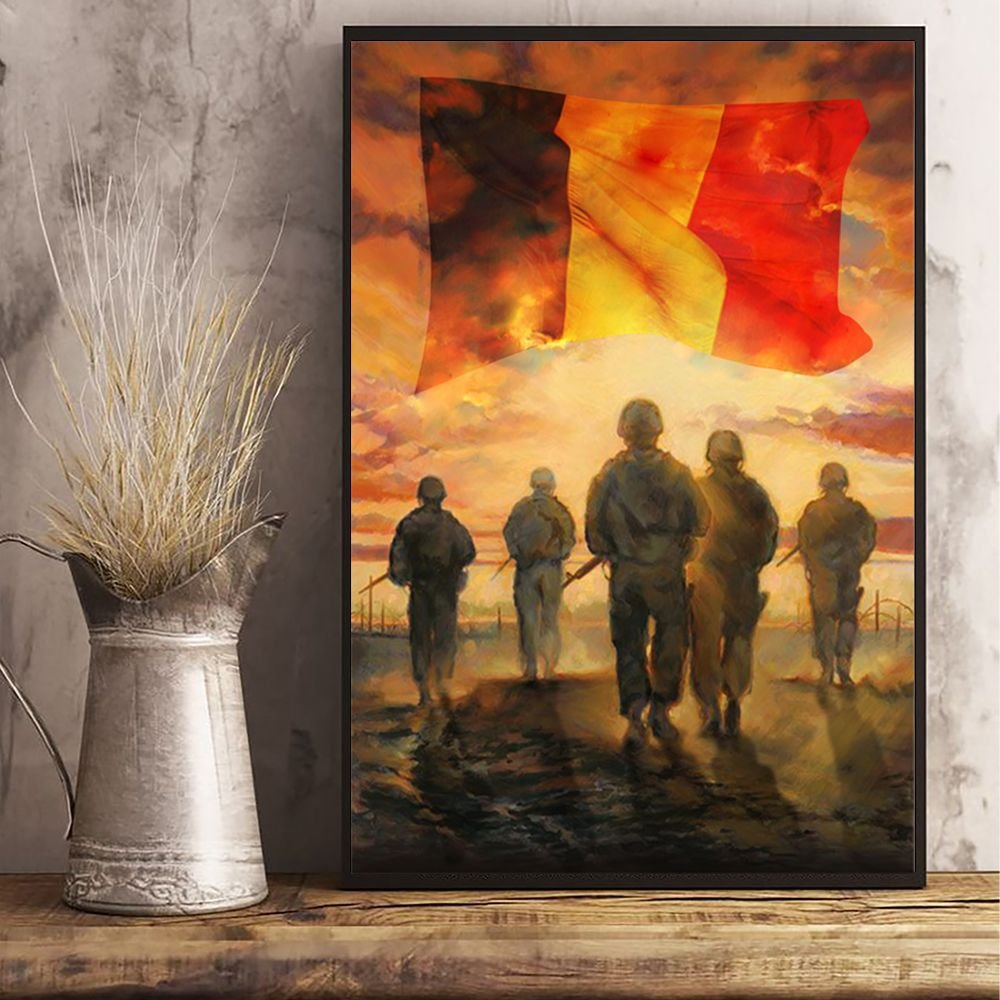 God Bless Our Troops Belgium Flag Poster Honor Military Soldiers Veterans Patriotic Decor