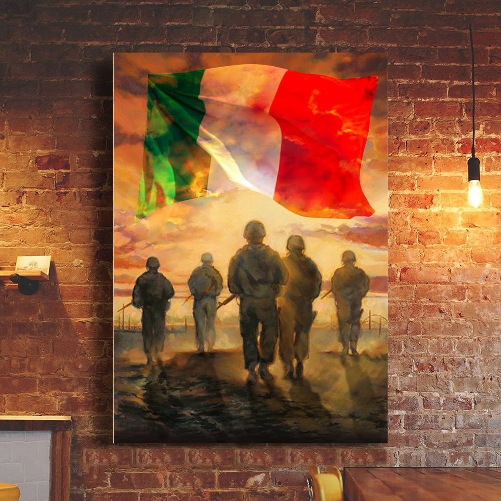 God Bless Our Troops Italy Flag Poster Honor Italian Military Soldiers Veterans Patriotic Gift