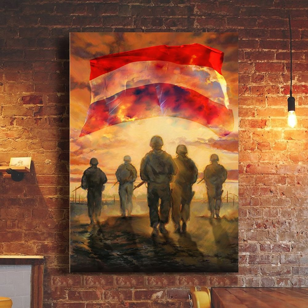 God Bless Our Troops Netherland Flag Poster Honor Dutch Soldiers Veterans Memorial Gift