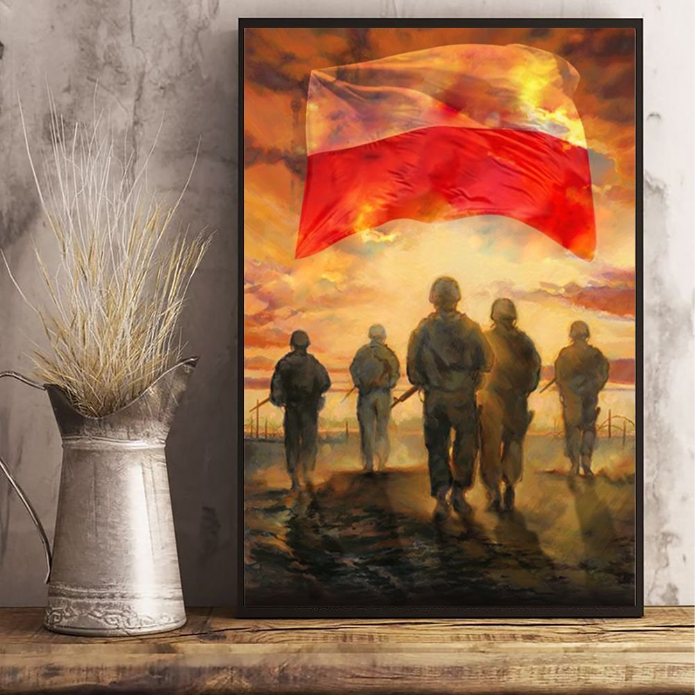 God Bless Our Troops Poland Flag Poster Honor Polish Soldiers Veterans Memorial Poster Gift
