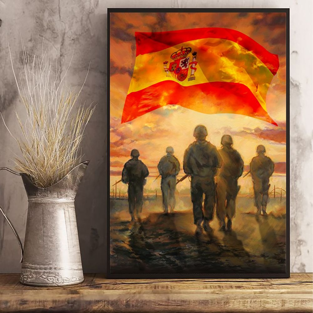 God Bless Our Troops Spanish Flag Poster Honor Soldiers Veterans Patriotic