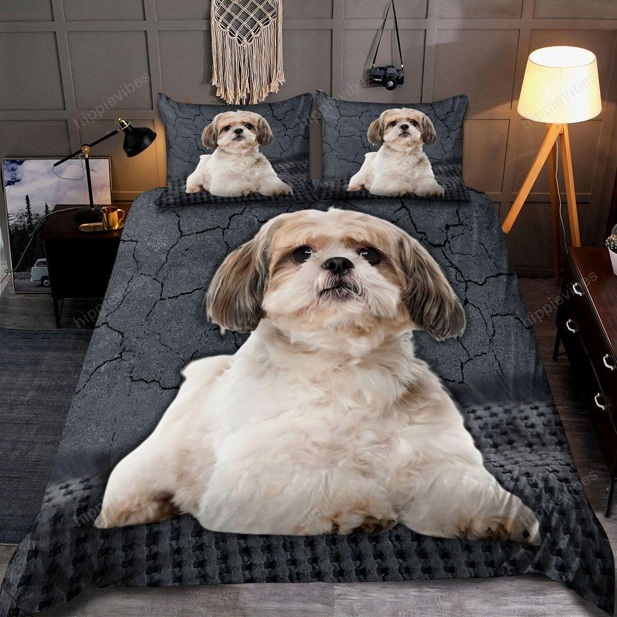 Shih Tzu Grey Bedding Set