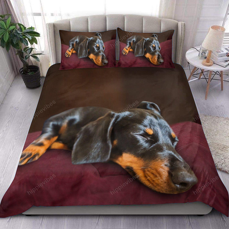 Dachshund Sleeping Brown Bedding Set