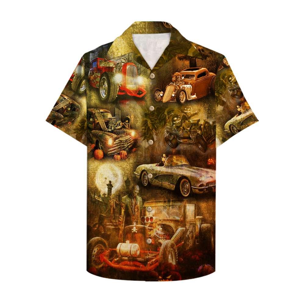 Halloween Hot Rod pumpkin racing Hawaiian Shirt