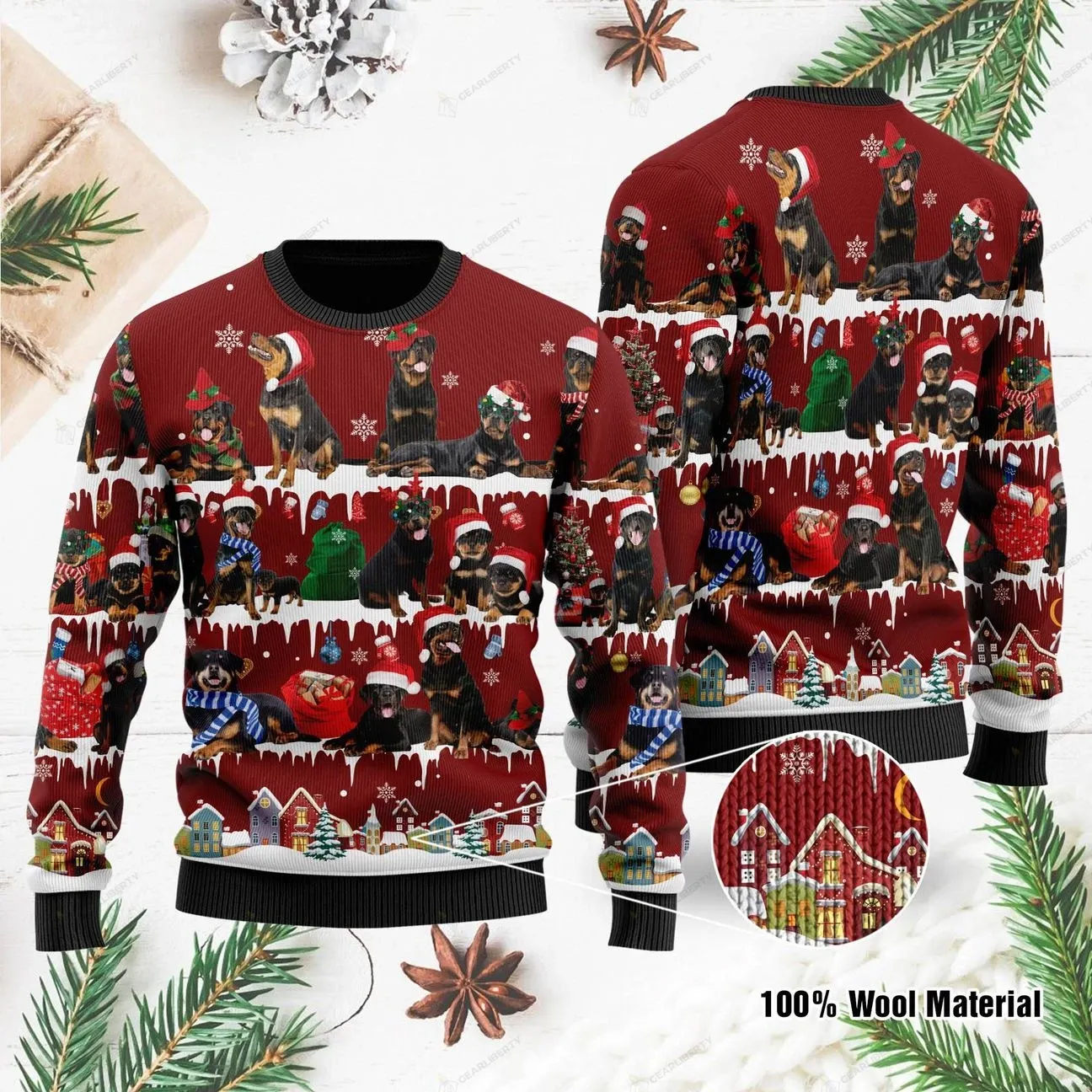 Rottweiler Ugly Christmas Sweater