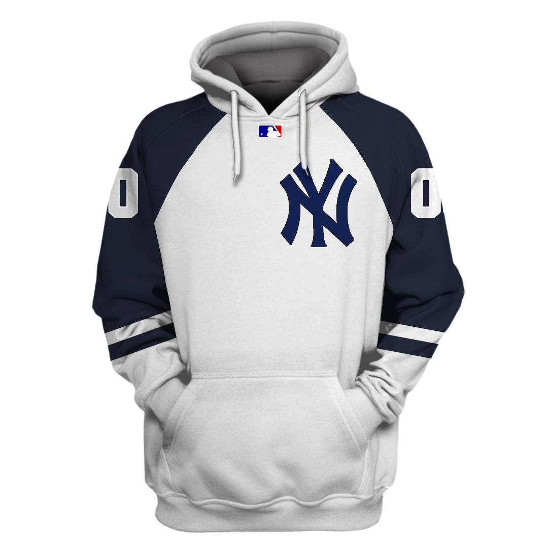 Custom Name Number New York Yankees white hoodie sweatshirt
