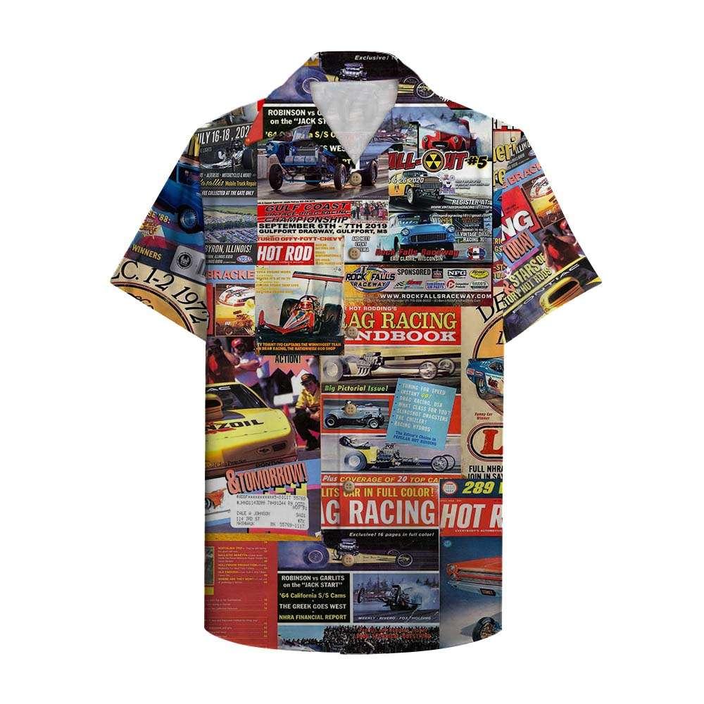 Drag Racing Magazine Hawaiian Shirt Button Up Shirt