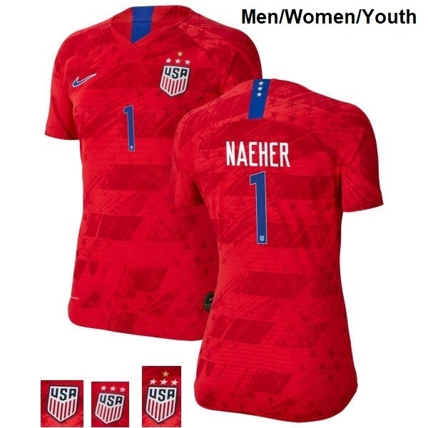 Alyssa Naeher Away Red Champions No 1 Soccer Jersey
