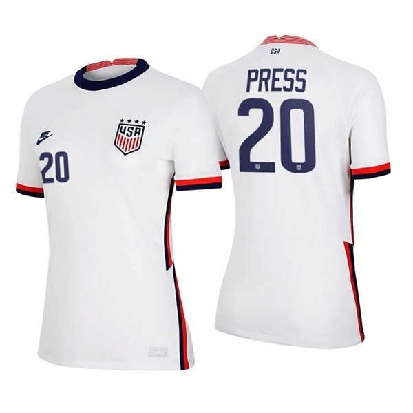 Christen Press White No 20 2021 Home Soccer Four Stars Jersey