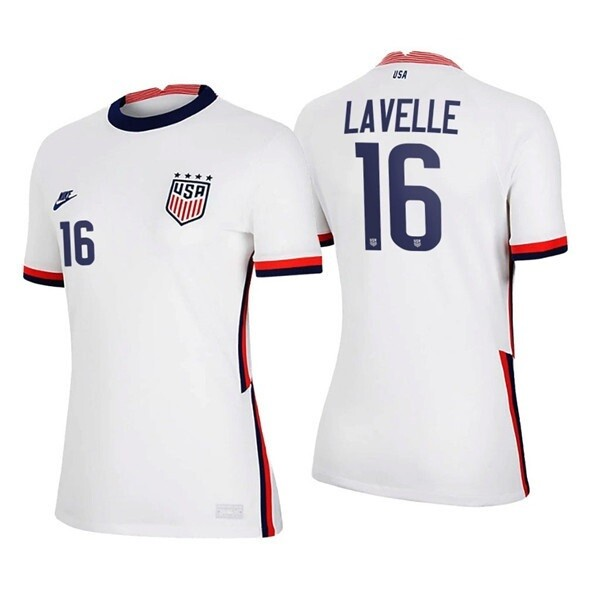 Rose Lavelle Home White No 16 2021 USWNT Soccer 4 Star Jersey