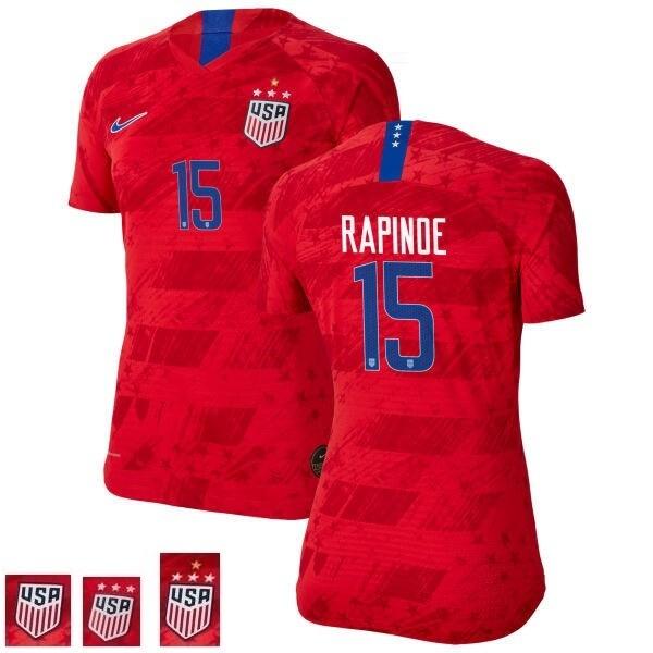 Megan Rapinoe Away Red Champions No 15 Soccer Jersey