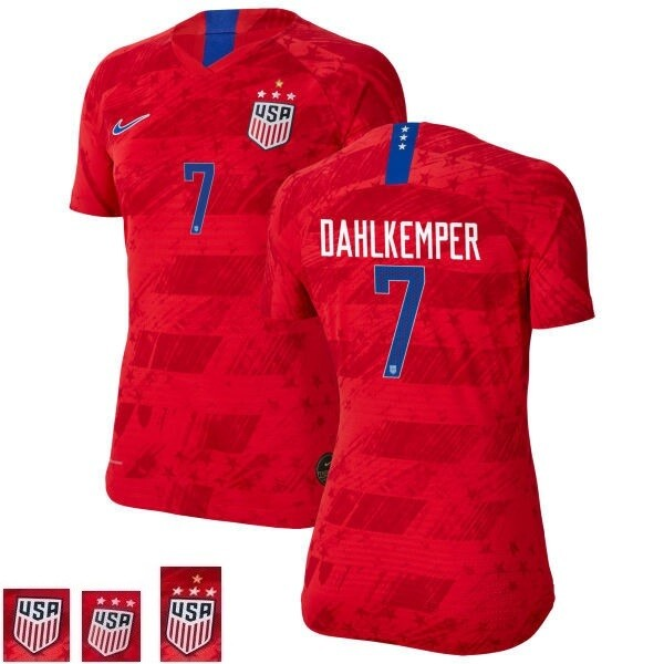 Abby Dahlkemper Champions Red Away No 7 Soccer Jersey