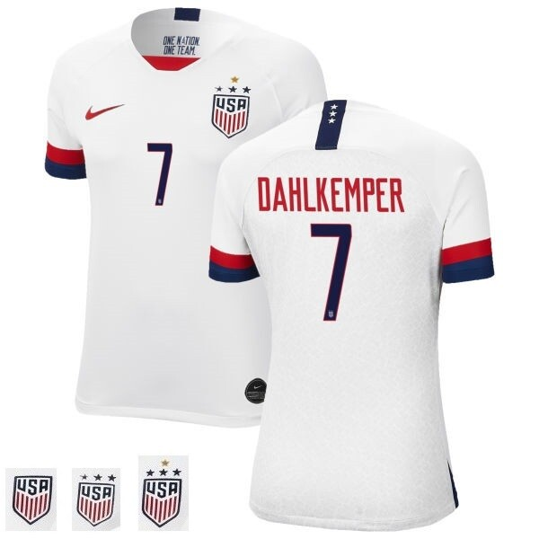 Home Abby Dahlkemper Champions Home White No 7 Soccer Jersey