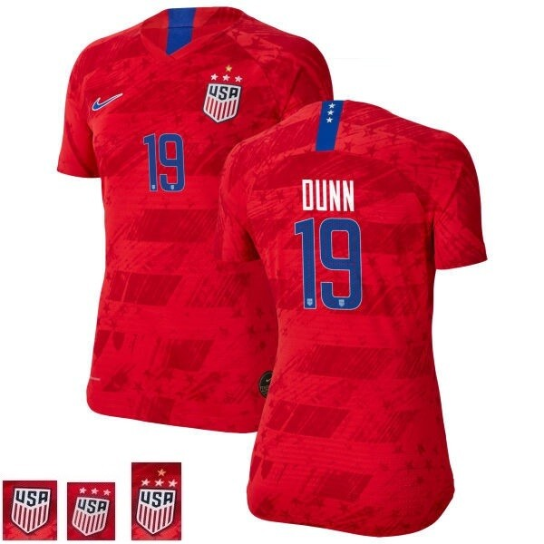 Crystal Dunn Red Champions No 19 Away Soccer Jersey