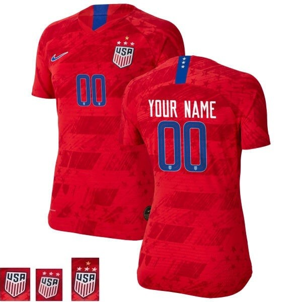 Customize Name and Number Red Away Champions Soccer Jersey