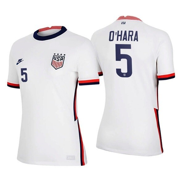 USWNT Kelley OHara Home White No 5 2020 Soccer Jersey shirt