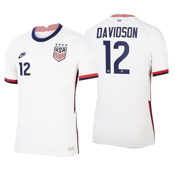 Tierna Davidson Home White 2021 No 12 Soccer Four Star Jersey