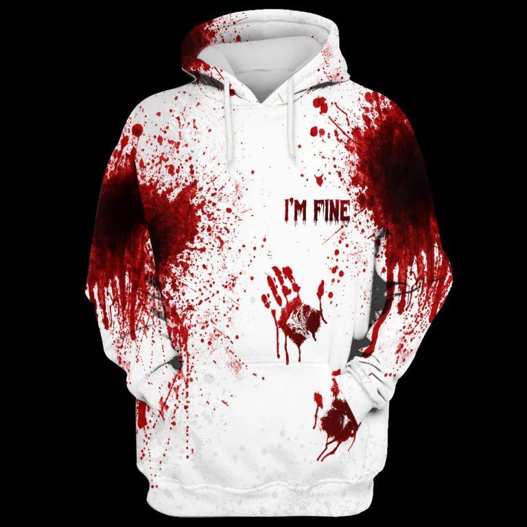 Halloween Blood Hand I am fine Hoodie 3D
