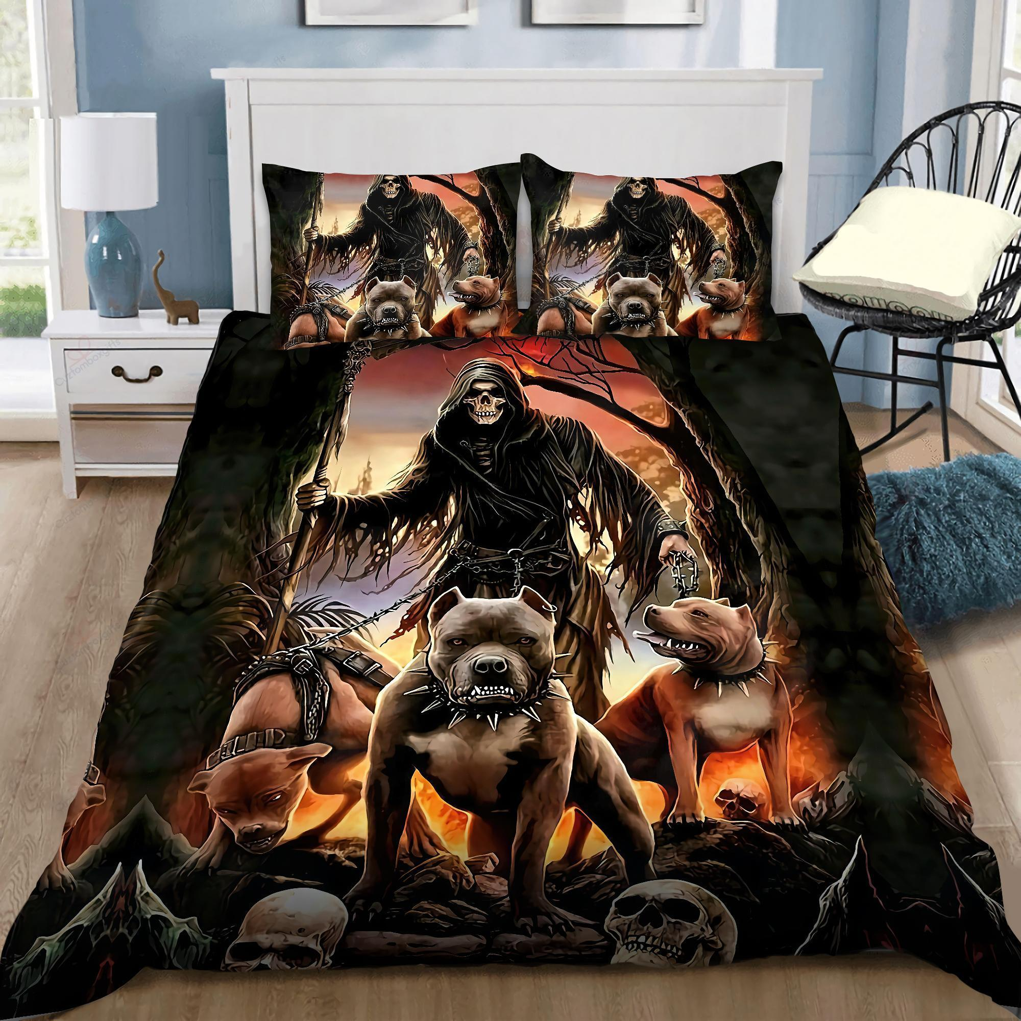 God Of The Death With Pitbull Bedding Set