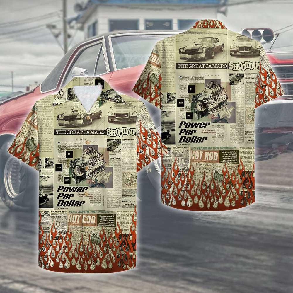 Hot Rod Newspaper Power per dollar Hawaiian Shirt