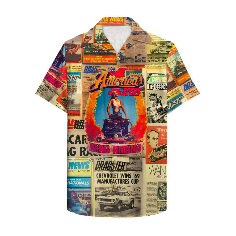 Drag Racing America 1st sport Newspaper Hawaiian Shirt
