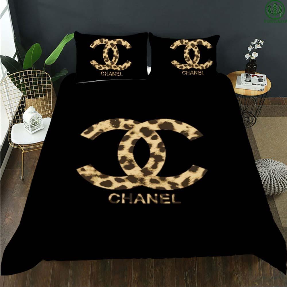 Chanel leopard black bedding set
