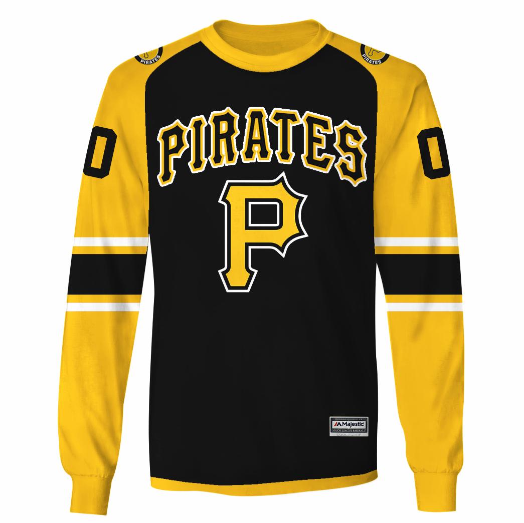 Custom Name Pittsburgh Pirates black yellow hoodie sweatshirt