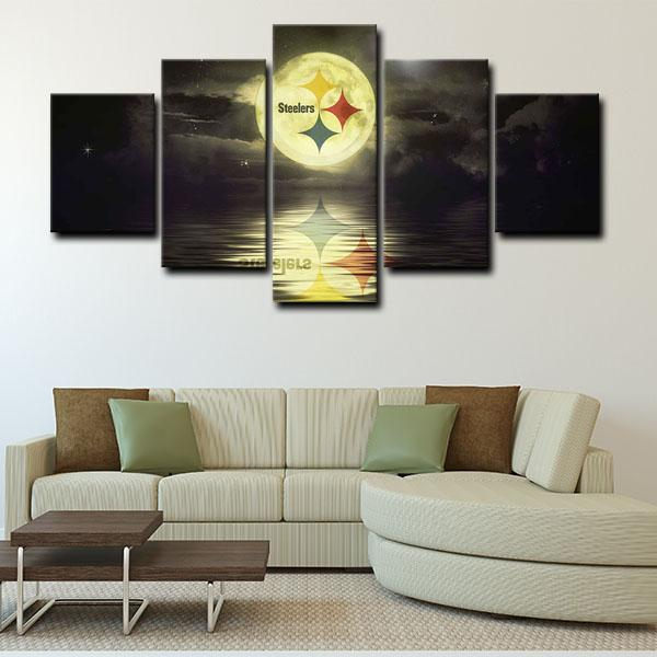 Pittsburgh Steelers Symbol Logo in Wall 5 Panel Canvas