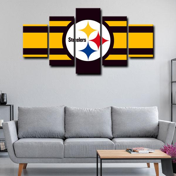 Pittsburgh Steelers Logo in Orange 5 Panel Canvas