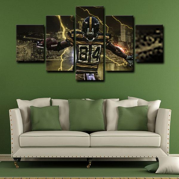 Pittsburgh Steelers Wide Receiver Ronald Ocean Antonio Brown Lightning 5 Panel Canvas