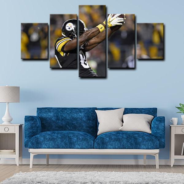 Pittsburgh Steelers Wide Receiver Ronald Ocean Antonio Brown Forward 5 Panel Canvas
