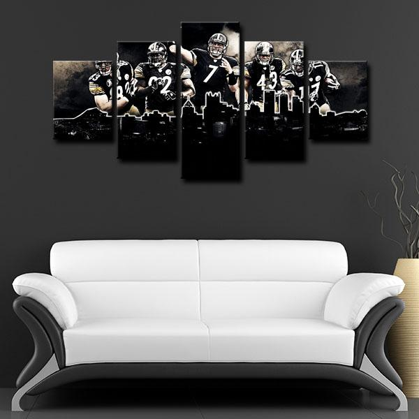 Pittsburgh Steelers Team 5 players 5 Panel Canvas