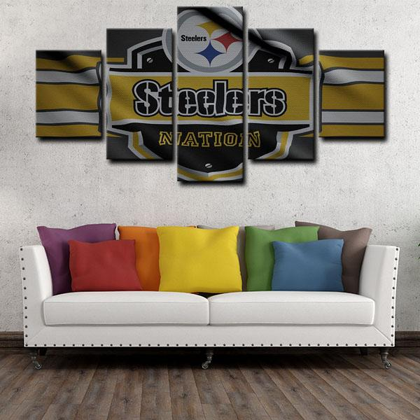 Pittsburgh Steelers Dust Logo 5 Panel Canvas