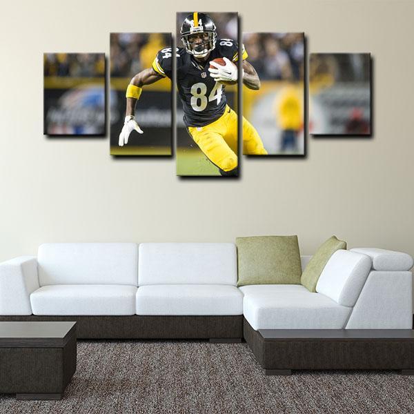 Pittsburgh Steelers Antonio Brown Fighting 5 Panel Canvas