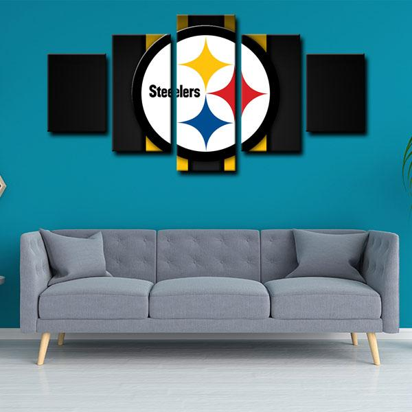 Pittsburgh Steelers Logo in Black 5 Panel Canvas