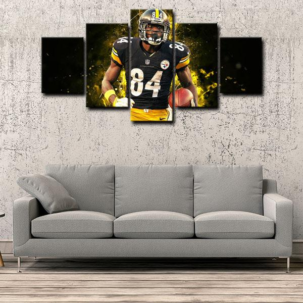Pittsburgh Steelers Wide Receiver Yellow Halo Antonio Brown 5 Panel Canvas