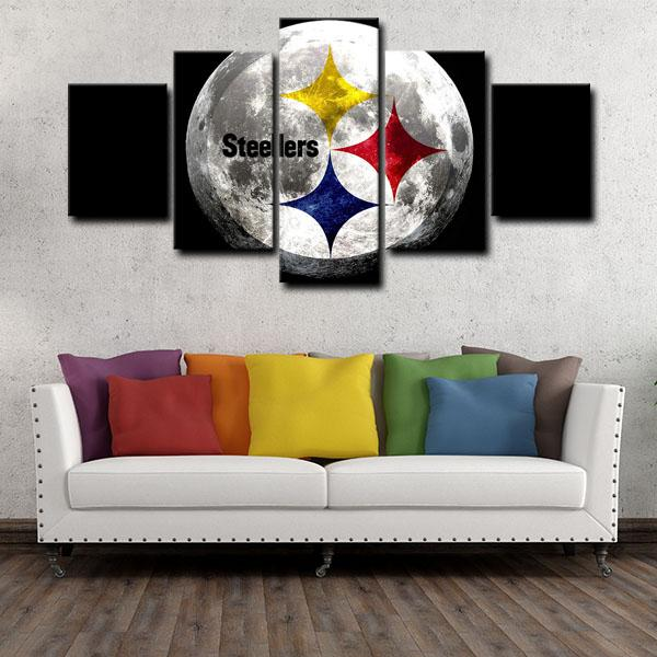 Pittsburgh Steelers Logo in Moon 5 Panel Canvas