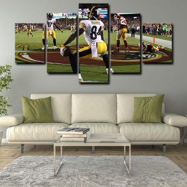 Pittsburgh Steelers Runners Ronald Ocean Antonio Brown 5 Panel Canvas