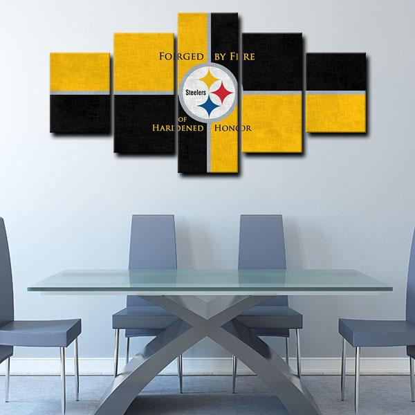 Pittsburgh Steelers Emblem Forged by Fire of Hardened Honor 5 Panel Canvas
