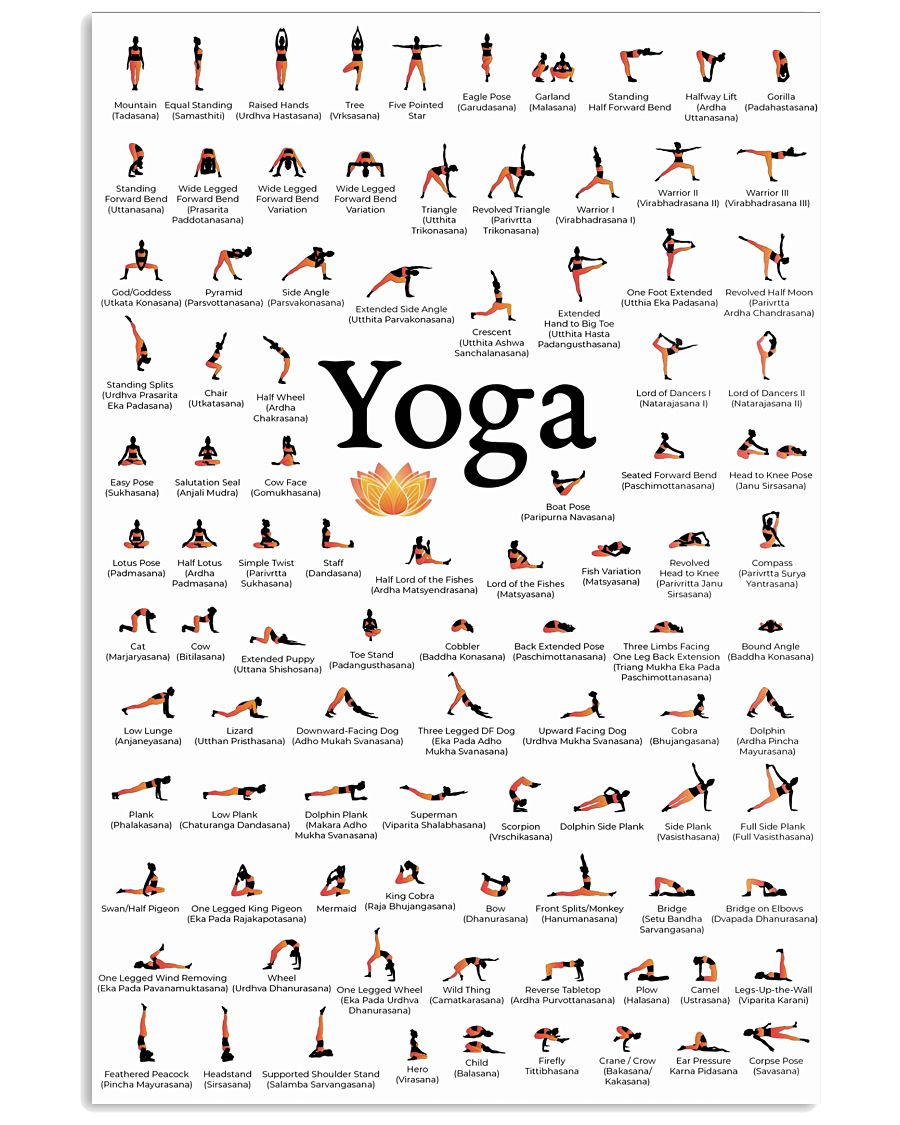 YOGA POSES Vertical Poster for yoga room